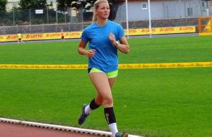Der schwedische Neuzugang Hanne Backsted beim Lauftraining im Moselstadion.
