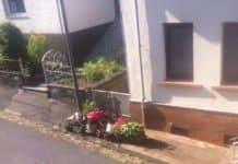 Blick auf Haus mit kleinem Metalltor und Blumen davor und Fußweg.