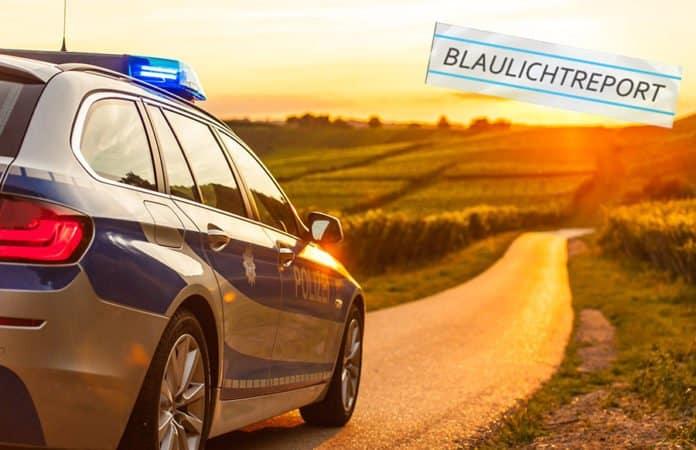 Ein Polizeiwagen fährt auf einer Landstraße der untergehenden Sonne entgegen.
