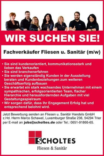 Scholtes Fliesen & Sanitär - Wir suchen Fachverkäufer
