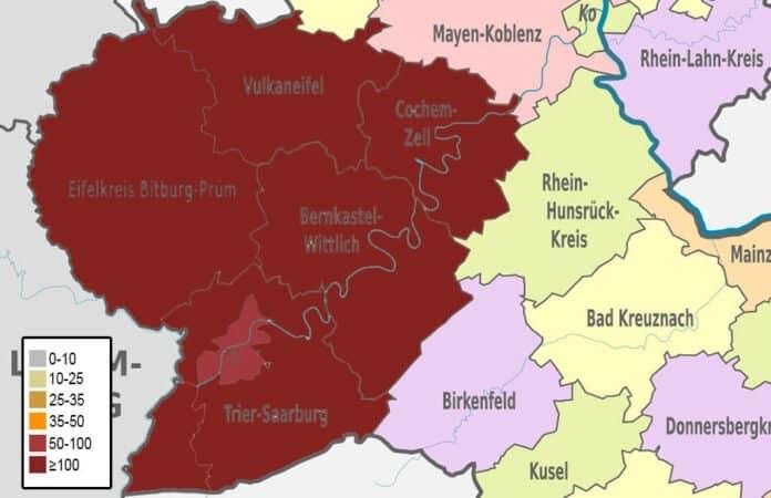 Inzidenzwerte Landkreise in der Region Trier