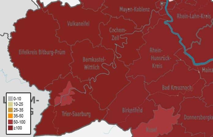 Inzidenzwerte in den Landkreisen in der Region Trier