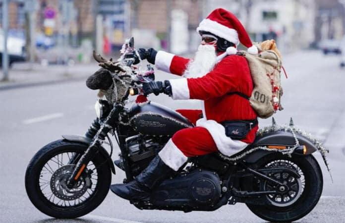 Harley Davidson riding Santas