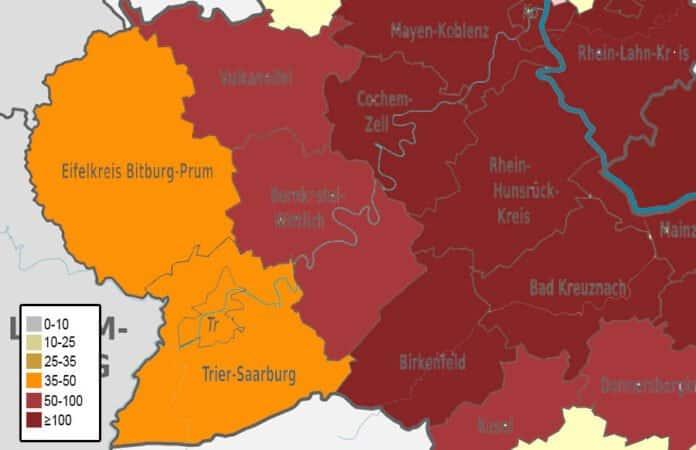 Karte der Inzidenzwerte in den Landkreisen in der Region Trier