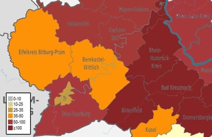 Karte der Inzidenzwerte in den Landkreisen der Region Trier