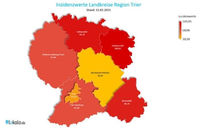 Die Inzidenzwerte der Landkreise in der Region Trier. Stand: 12.02.2021. (Karte: lokalo.de, Datenquelle: Gesundheitsämter)