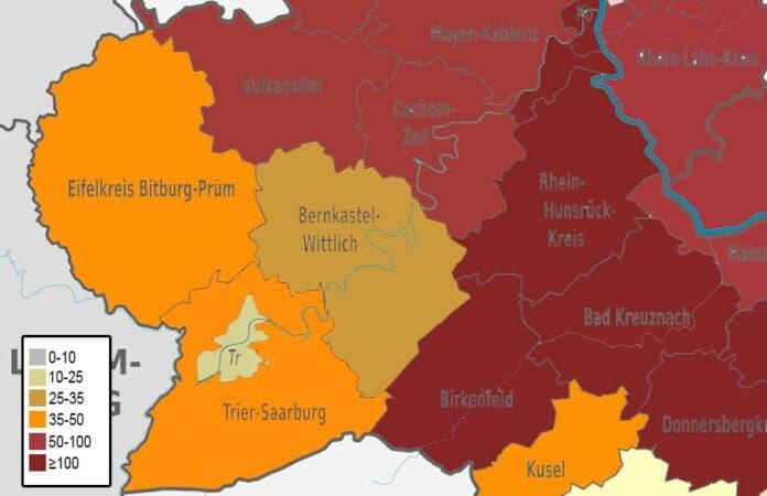 Inzidenzwerte in den Landkreisen der Region Trier
