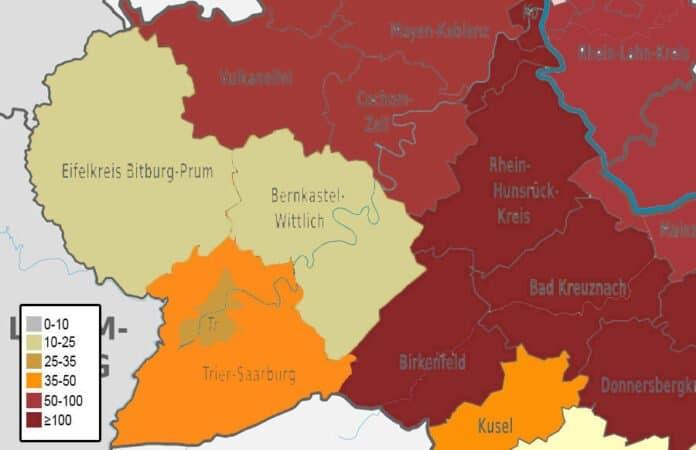 Corona-Karte Landkreise Trier 05.02.2021